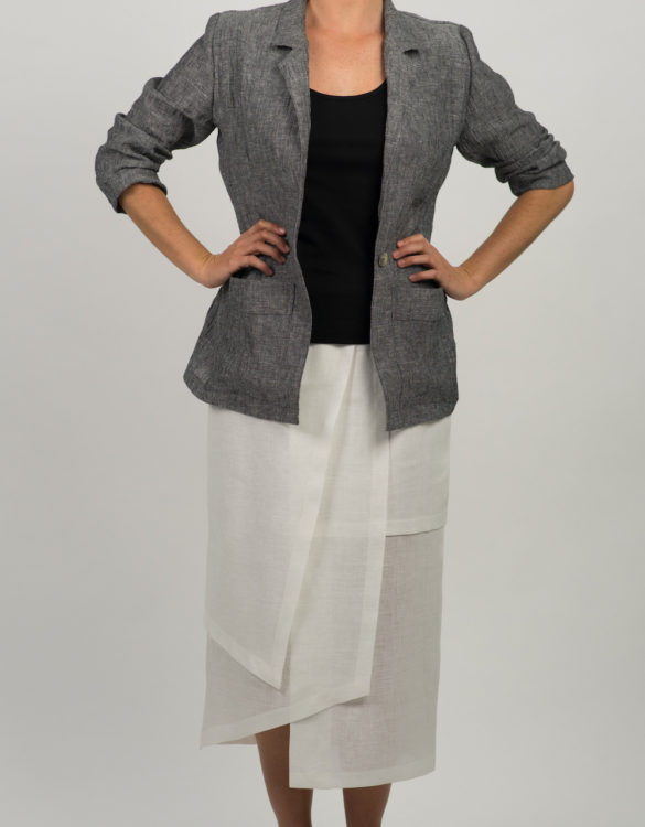 Layered Linen Skirt and Crushed Linen Jacket586