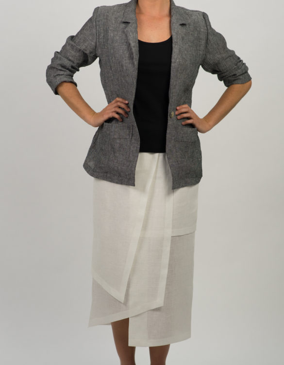 Layered Linen Skirt and Crushed Linen Jacket 587