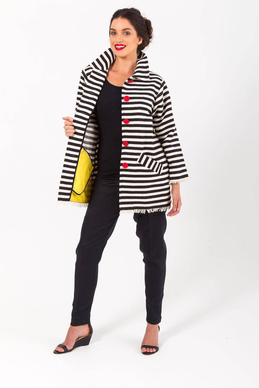 Woven Cotton Stripe Fringe Jacket
