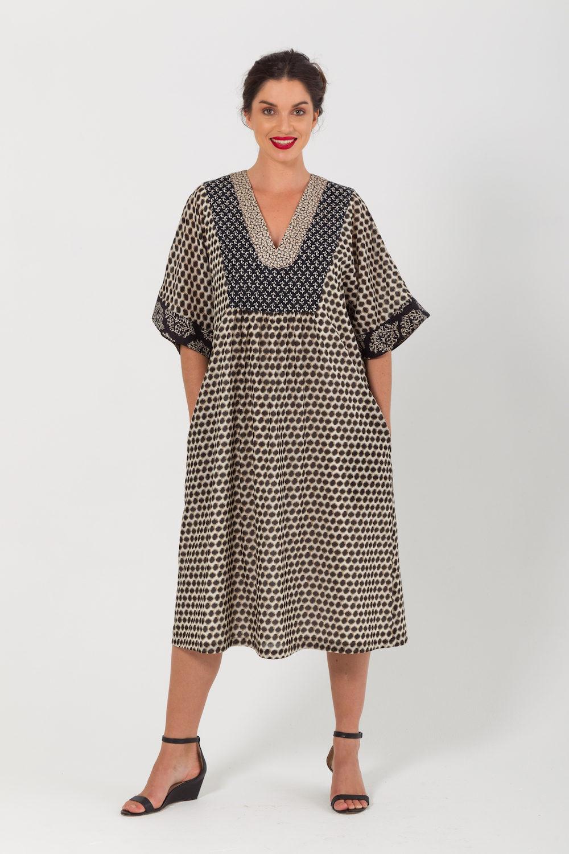 Multi-Print Silk Cotton Dress