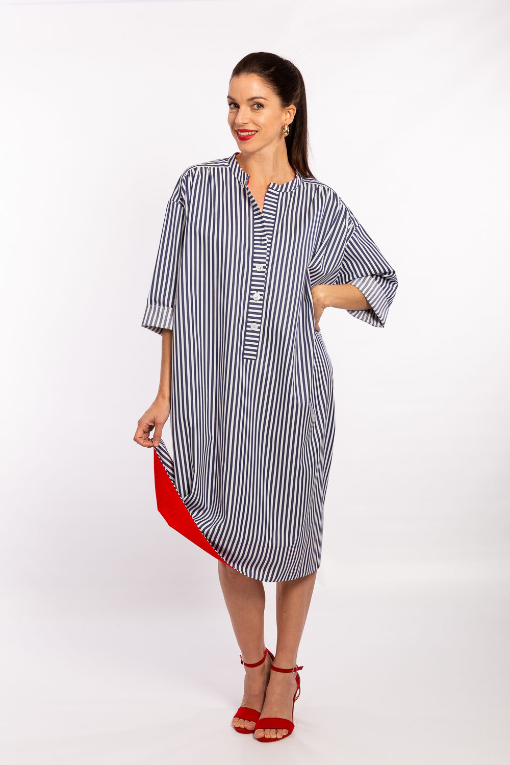 Nautical Navy & White Stripe with Red Facing
